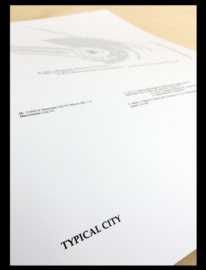 Close up of Scores Drawn Man City FC Premier League winners 2012 print